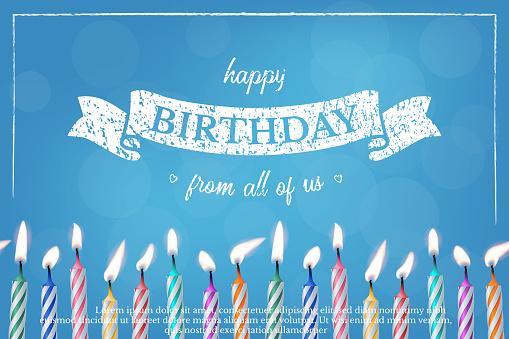 Birthday blue greeting card vector design template