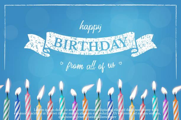 ilustraciones, imágenes clip art, dibujos animados e iconos de stock de plantilla de diseño de vectores de tarjeta de felicitación azul cumpleaños - cumpleaños