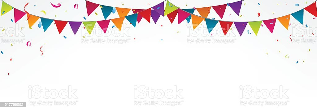 Birthday bunting flags, with confetti vector art illustration