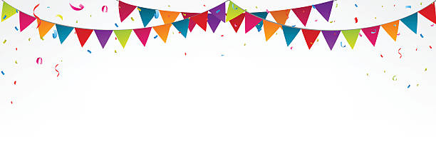 birthday bunting flags, with confetti - streamer stock illustrations, clip art, cartoons, & icons