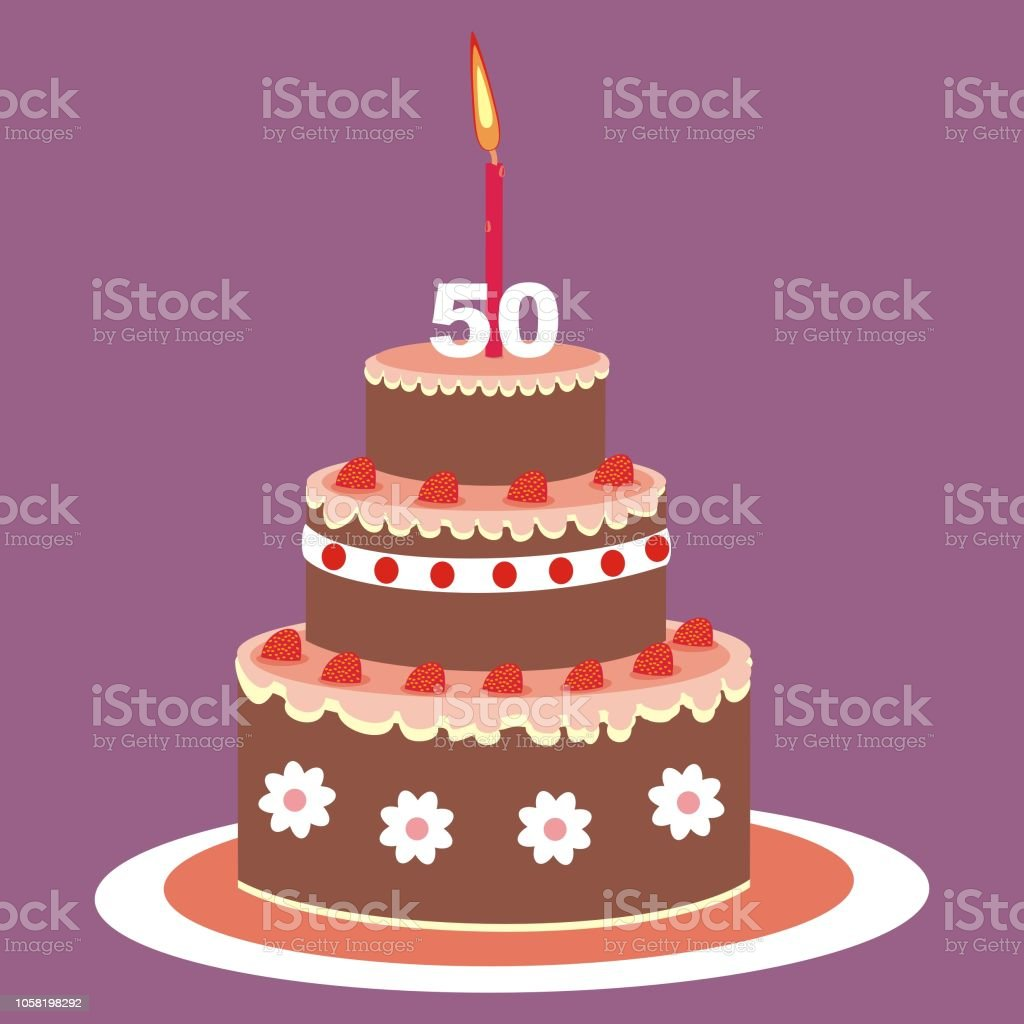 Birthday Cake 50 Year Royalty Free Stock Vector Art Amp