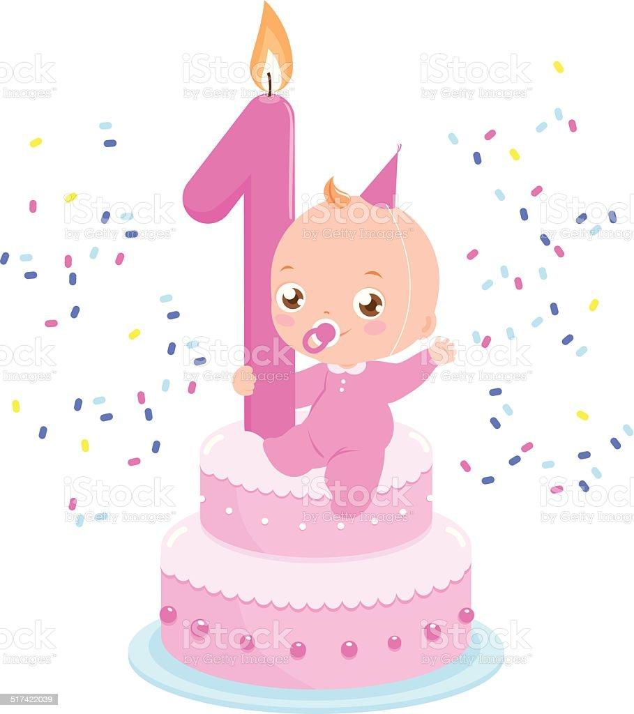 Geburtstagskuchen Für Babys Mädchen Stock Vektor Art und mehr Bilder ...