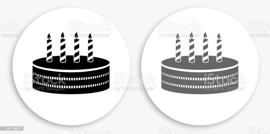 Birthday Cake Black and White Round Icon. This 100% royalty free...