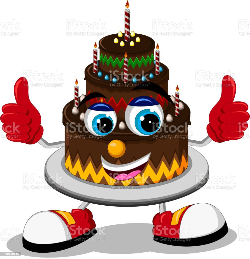 Birthday Cake Cartoon Thumb Up Stock Vector Art More Images of