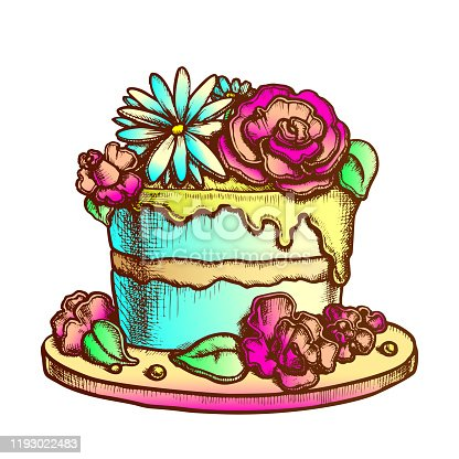Birthday Cake Decorated With Flowers Ink Vector