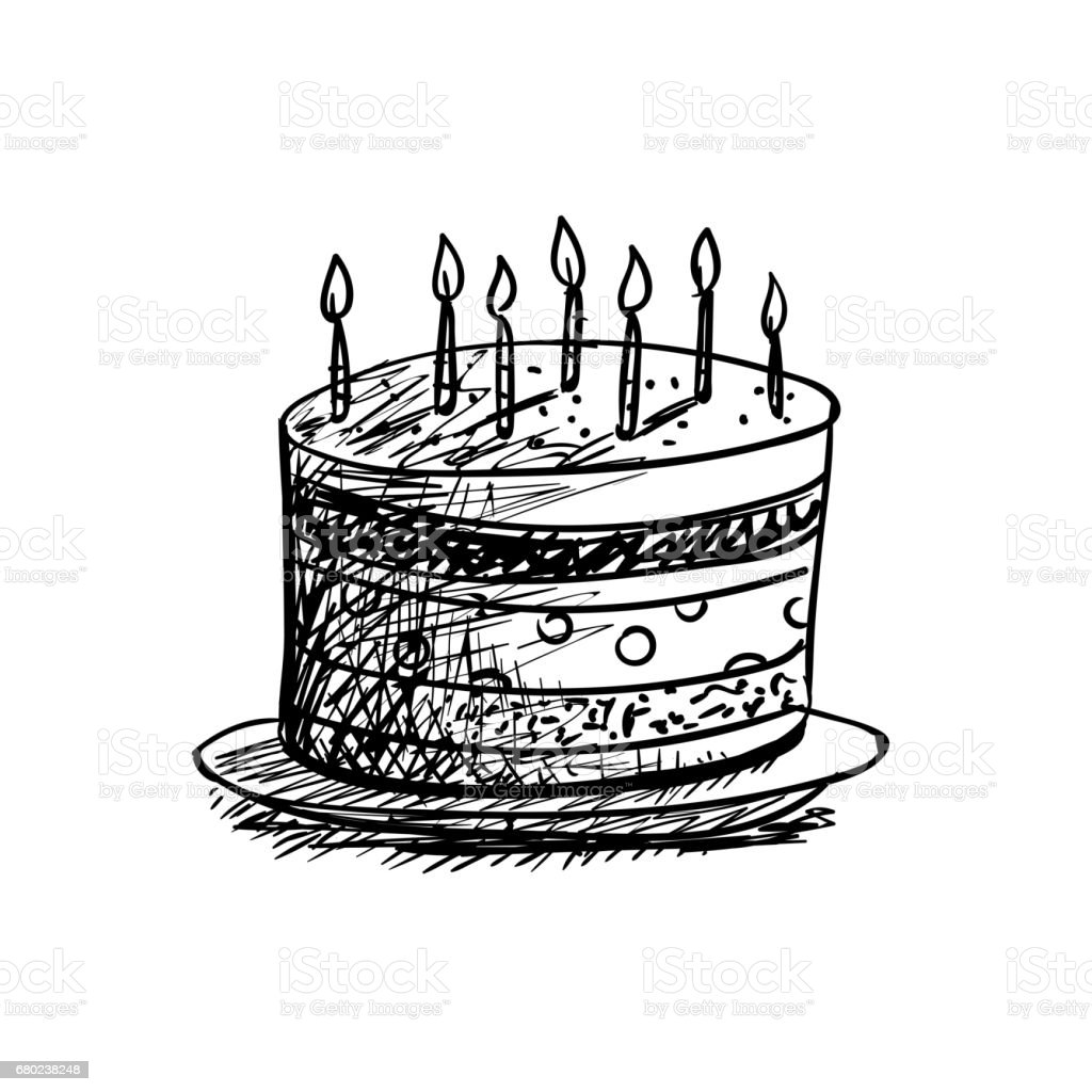 Birthday Cake Drawing Stock Vector Art More Images Of Art