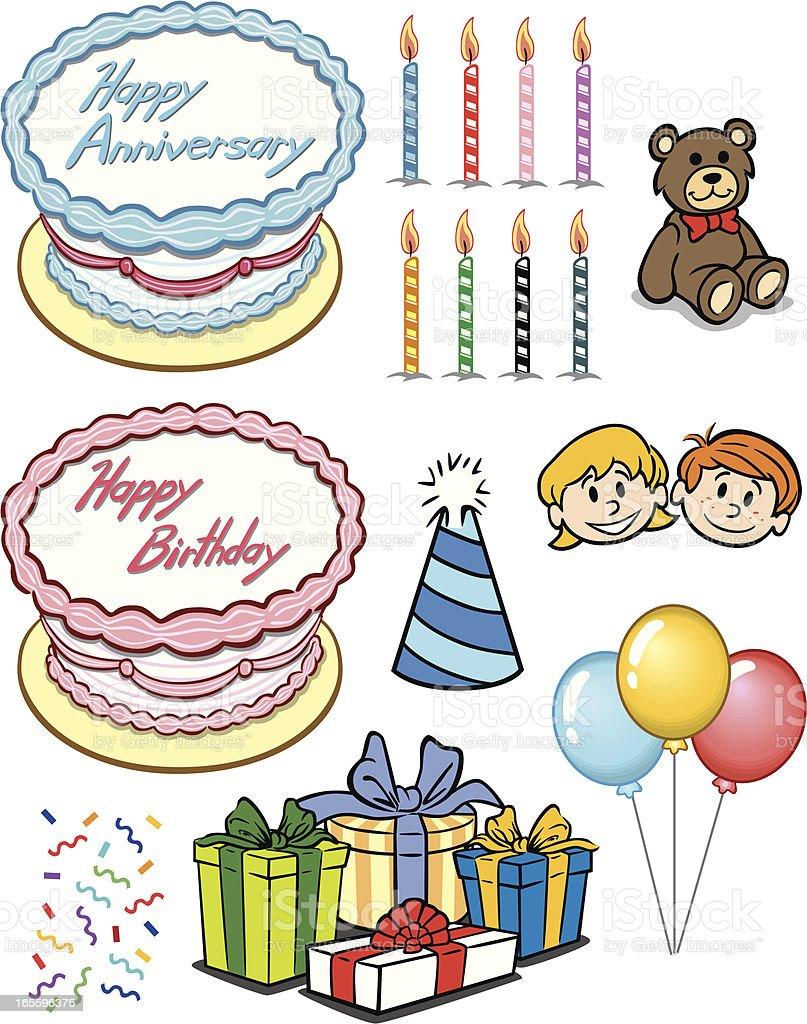Elementos de bolo de aniversário ilustração de elementos de bolo de aniversário e mais banco de imagens de aniversário royalty-free