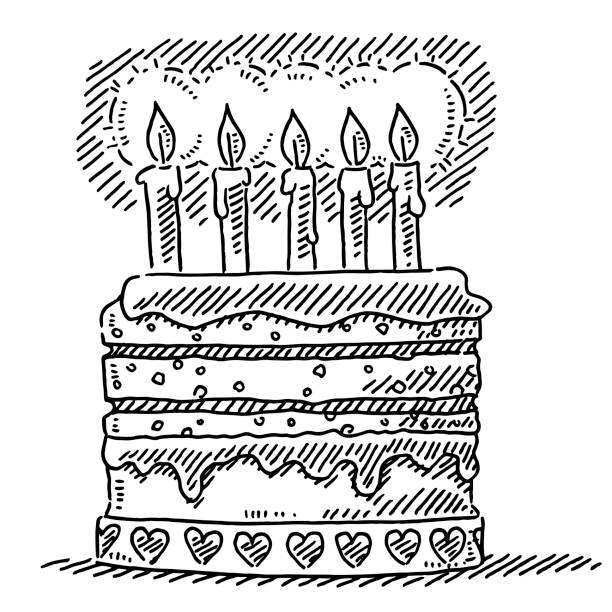 Birthday Cake Five Candles Drawing Hand-drawn vector drawing of a Birthday Cake with Five Candles. Black-and-White sketch on a transparent background (.eps-file). Included files are EPS (v10) and Hi-Res JPG. celebration stock illustrations