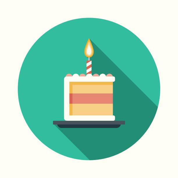 geburtstag kuchen flache party designikone mit seite schatten - geburtstagstorte stock-grafiken, -clipart, -cartoons und -symbole