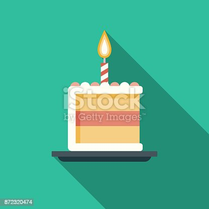 istock Birthday Cake Flat Design Party Icon with Side Shadow 872320474