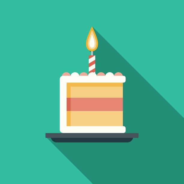 urodzinowy tort flat design party ikona z cieniem bocznym - ciasto stock illustrations