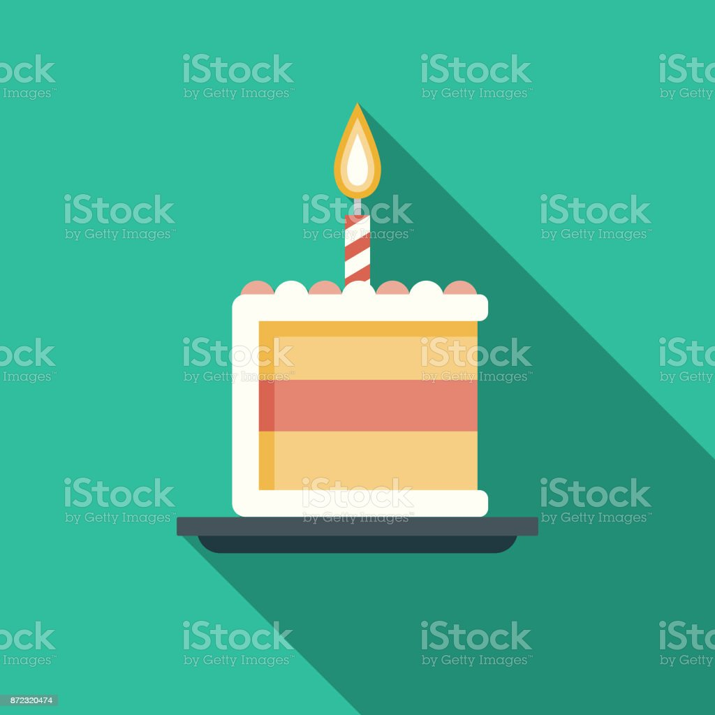 Birthday Cake Flat Design Party Icon with Side Shadow vector art illustration