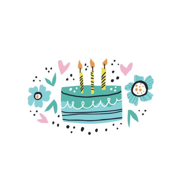 birthday cake flat hand drawn illustration - anniversary clipart stock illustrations