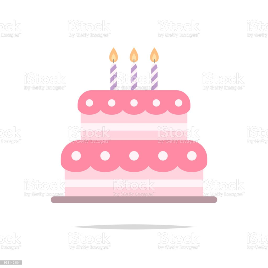 Birthday Cake Flat Icon Vector Stock Vector Art More Images of