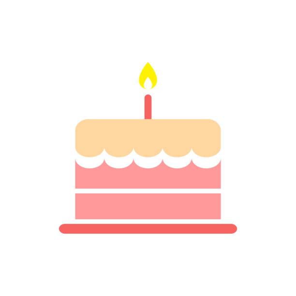 stockillustraties, clipart, cartoons en iconen met de cake van de kindverjaardag, voedsel pictogram - verjaardagstaart