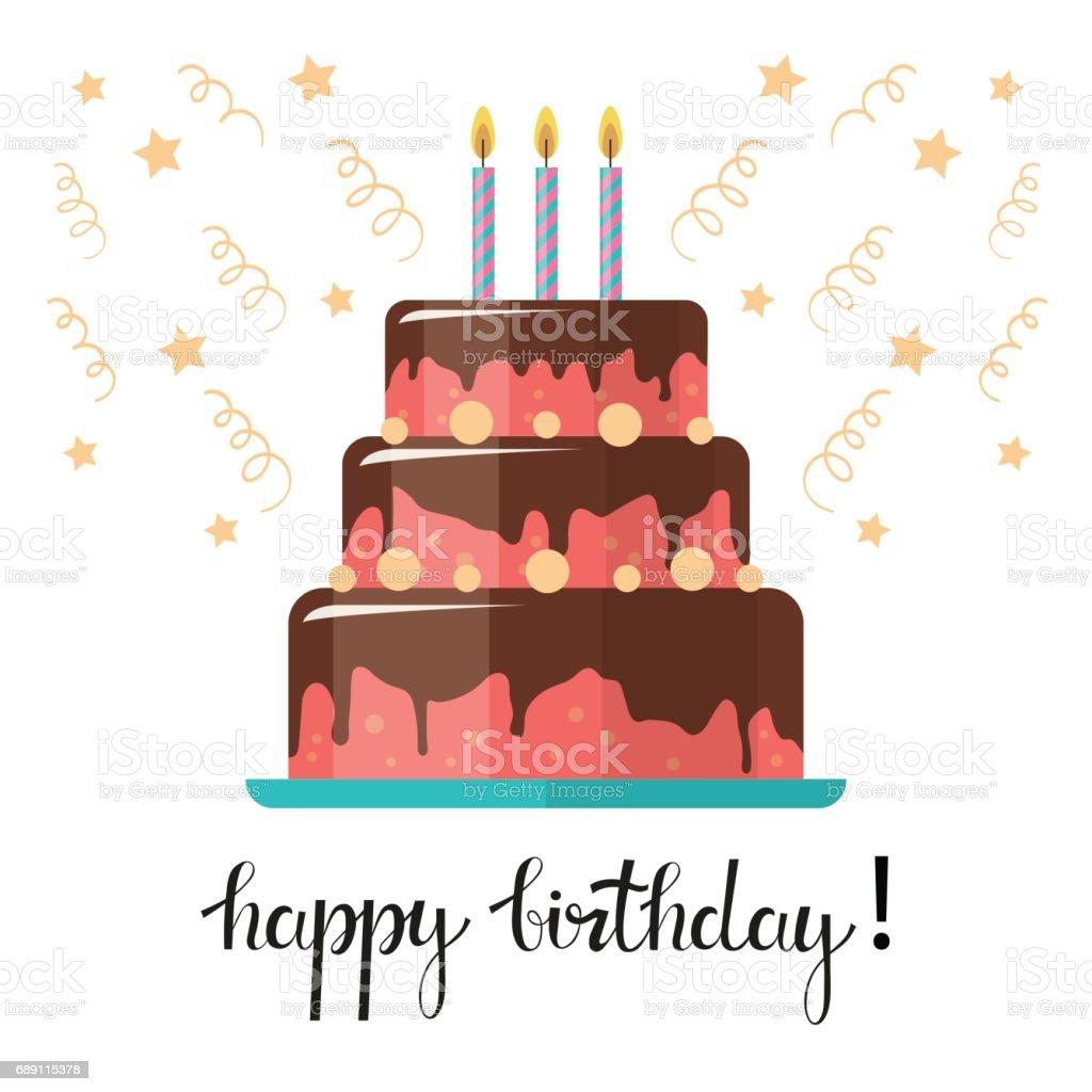 Birthday Cake Greeting Card Stock Vektor Art und mehr Bilder von ...