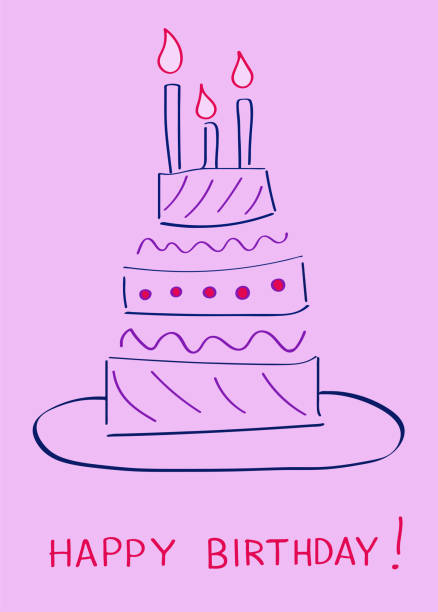 Birthday cake. Greeting card Vector illustration cartoon of birthday cake outline stock illustrations