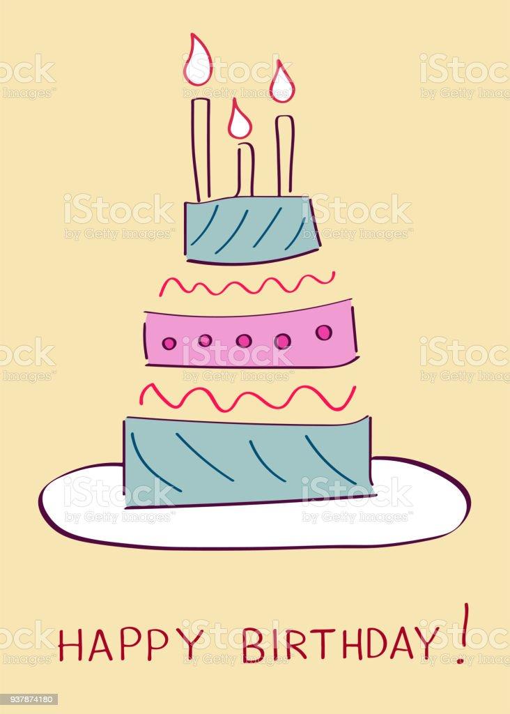 Pleasing Birthday Cake Greeting Card Stock Illustration Download Image Funny Birthday Cards Online Elaedamsfinfo