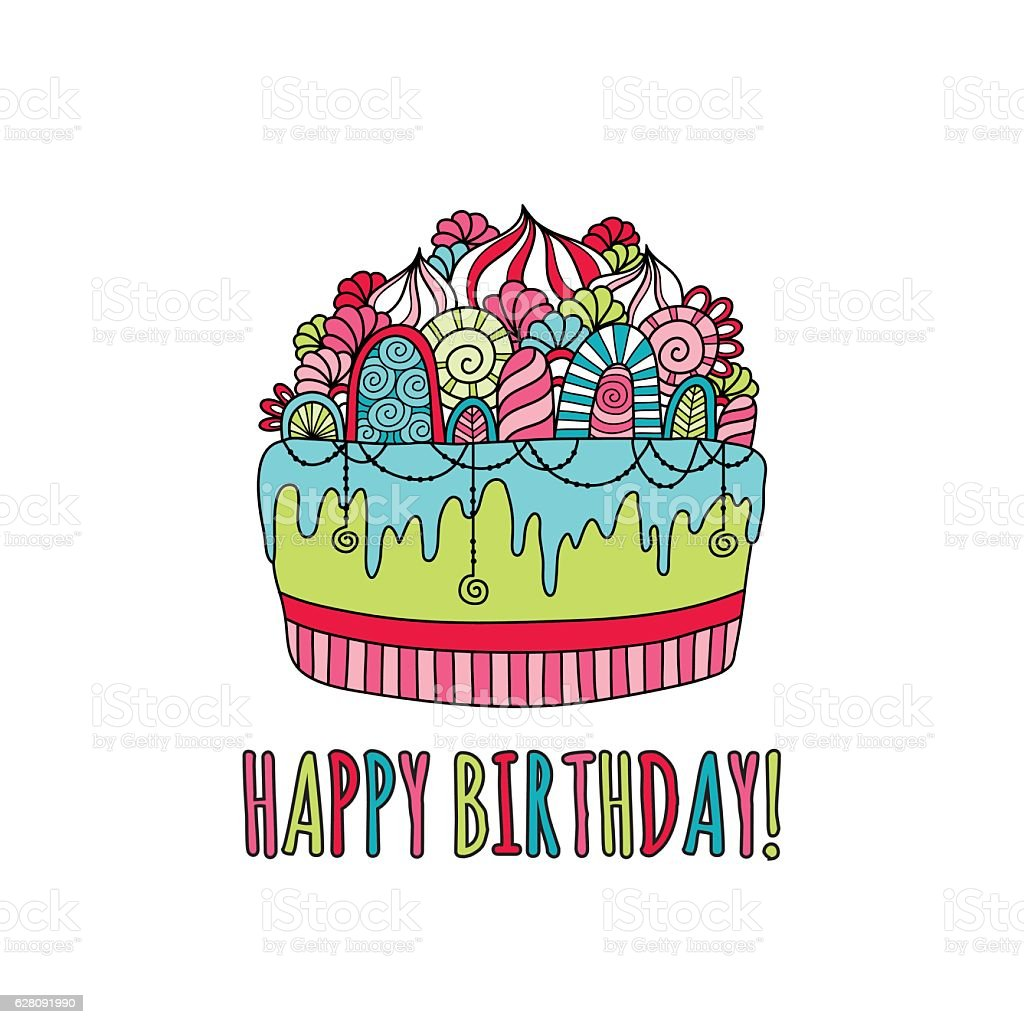 Birthday Cake Hand Drawn Doodle Vector Bright Stock Vector Art