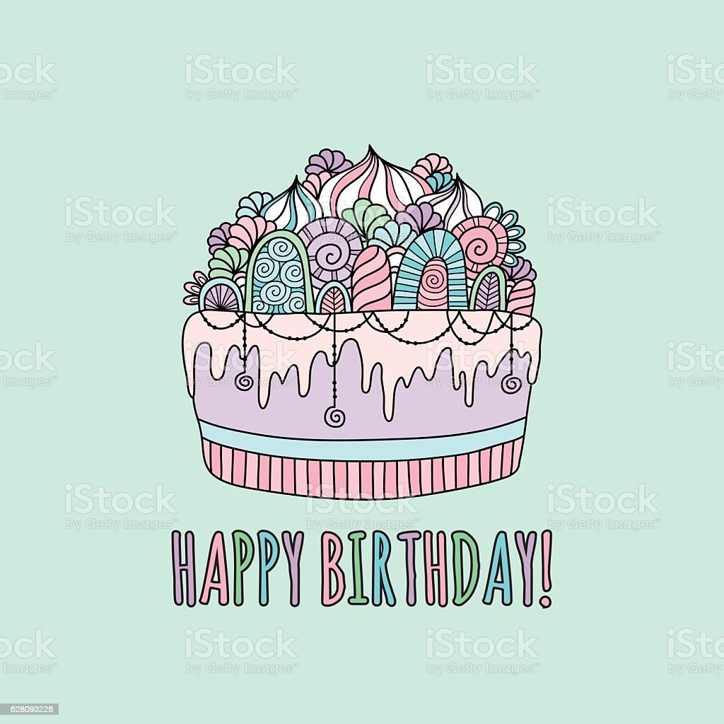 Birthday Cake Hand Drawn Doodle Vector Pastel Colours Stock Vector