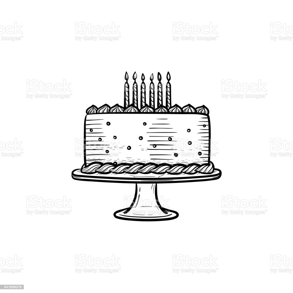 Birthday Cake Hand Drawn Sketch Icon Stock Vector Art More Images