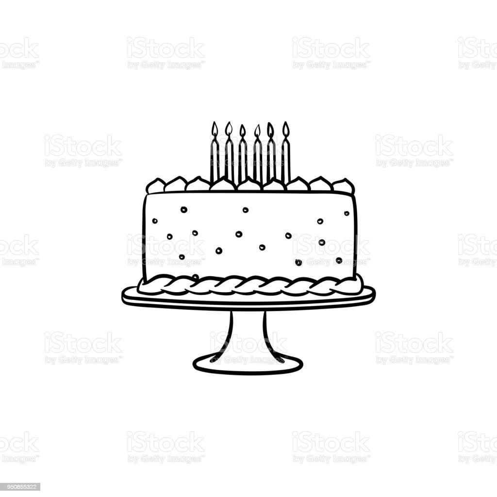 Geburtstag Kuchen Handsymbol Gezeichnete Skizze Stock Vektor Art Und