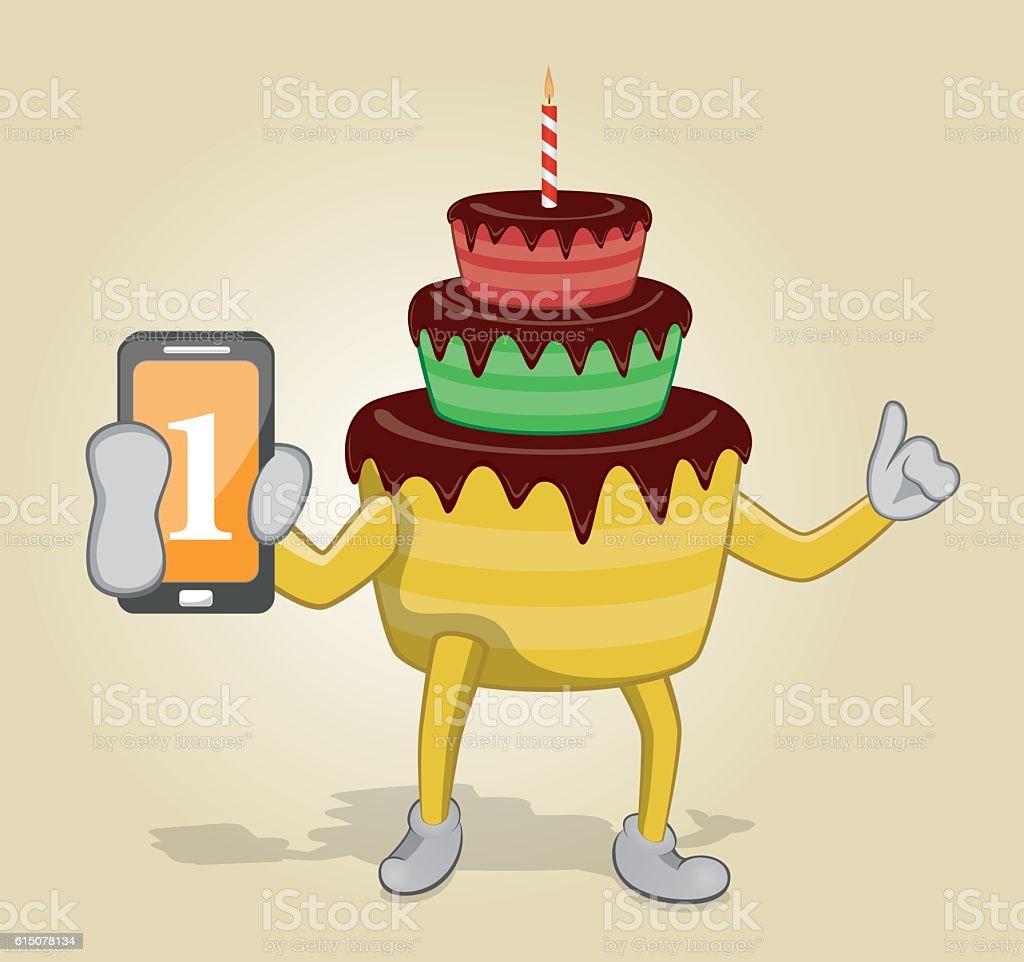 Birthday Cake Holding Mobile Phone Lizenzfreies Stock Vektor Art Und Mehr
