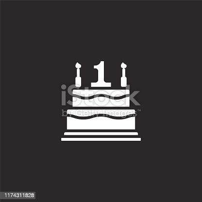 birthday cake icon. Filled birthday cake icon for website design and mobile, app development. birthday cake icon from filled family collection isolated on black background.