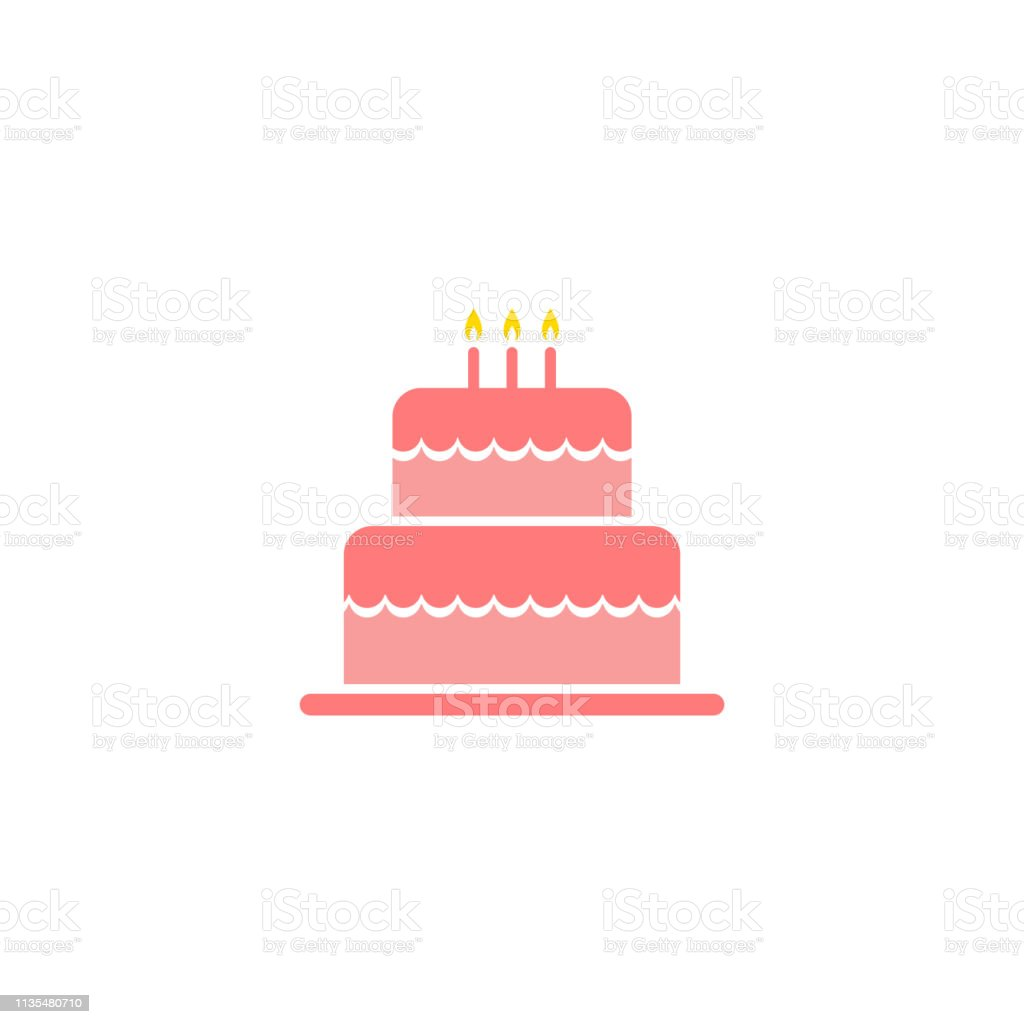 Superb Birthday Cake Icon Isolated Vector Stock Illustration Download Funny Birthday Cards Online Kookostrdamsfinfo