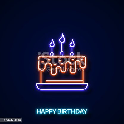 Birthday Cake Icon Neon Style, Design Elements