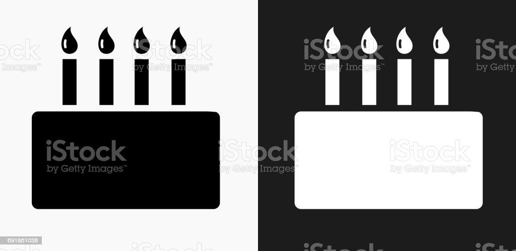 Icône de gâteau anniversaire sur fond de Vector noir et blanc - Illustration vectorielle