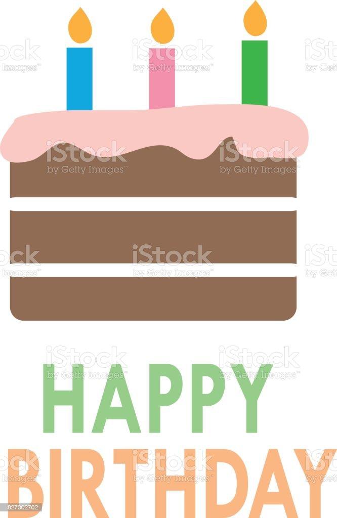 Birthday Cake Icon On White Background Flat Style Design