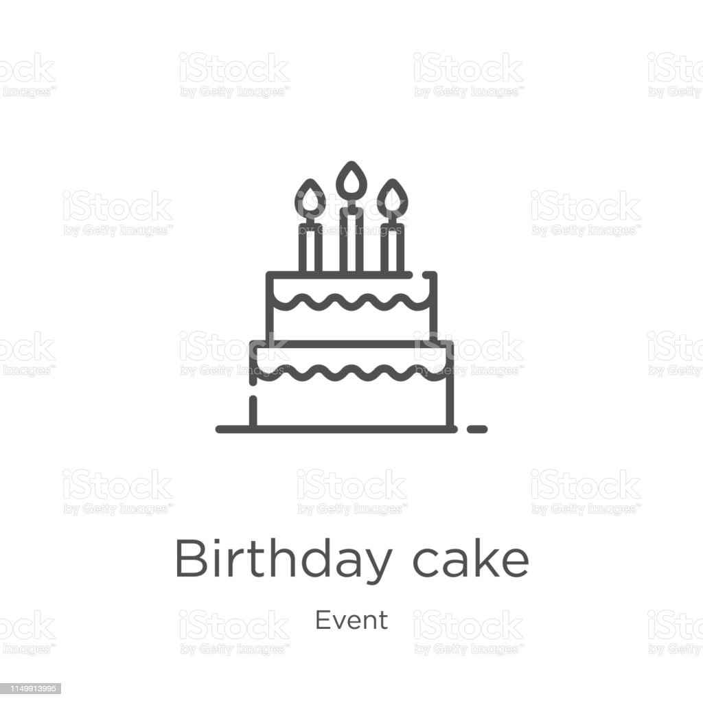 Wondrous Birthday Cake Icon Vector From Event Collection Thin Line Birthday Birthday Cards Printable Trancafe Filternl