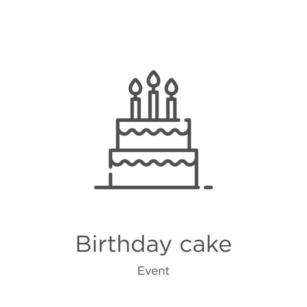 wektor ikony tortu urodzinowego z kolekcji wydarzeń. cienka linia tort urodzinowy zarys ikony wektor ilustracji. kontur, cienka ikona tortu urodzinowego dla projektowania stron internetowych i aplikacji mobilnych, tworzenia aplikacji - ciasto stock illustrations