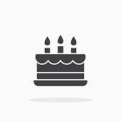 Birthday cake icon. For your design, logo. Vector illustration.