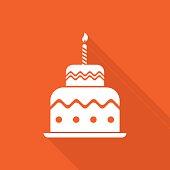 Birthday cake icon. Global colour used.