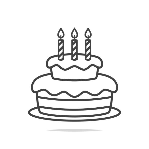 Royalty Free Clip Art Of A Birthday Cake Outline Clip Art Vector