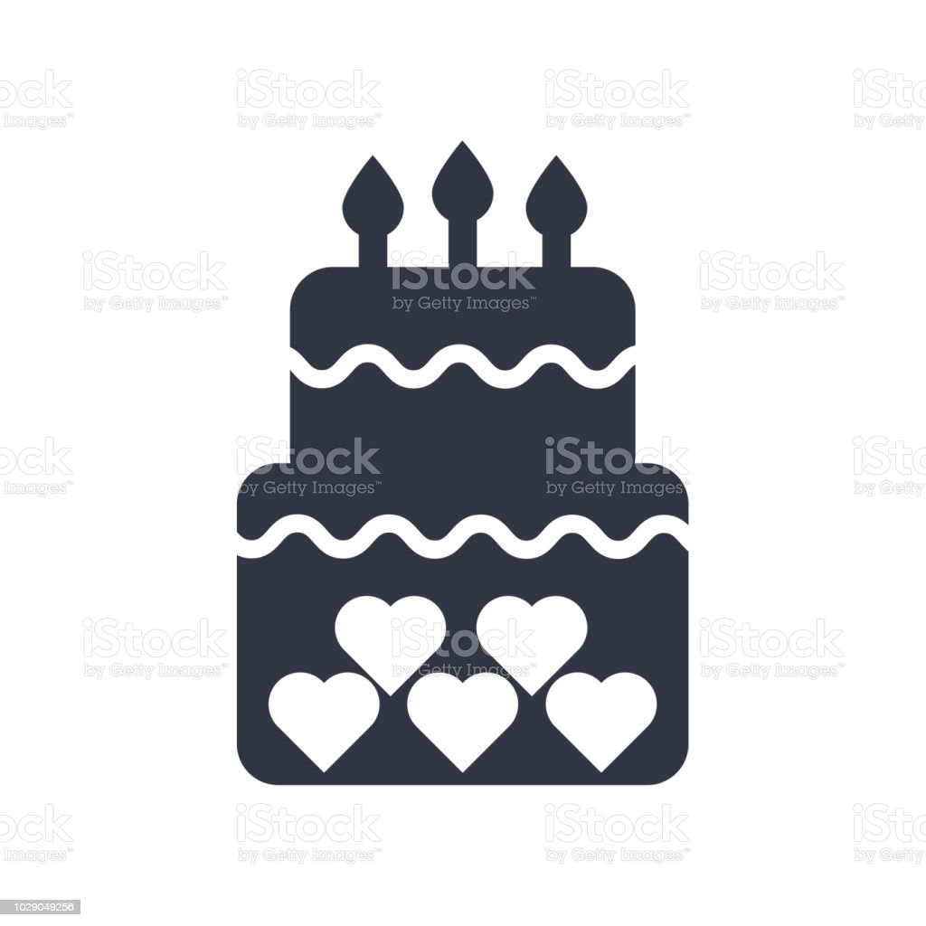 Birthday Cake Icon Vector Sign And Symbol Isolated On White