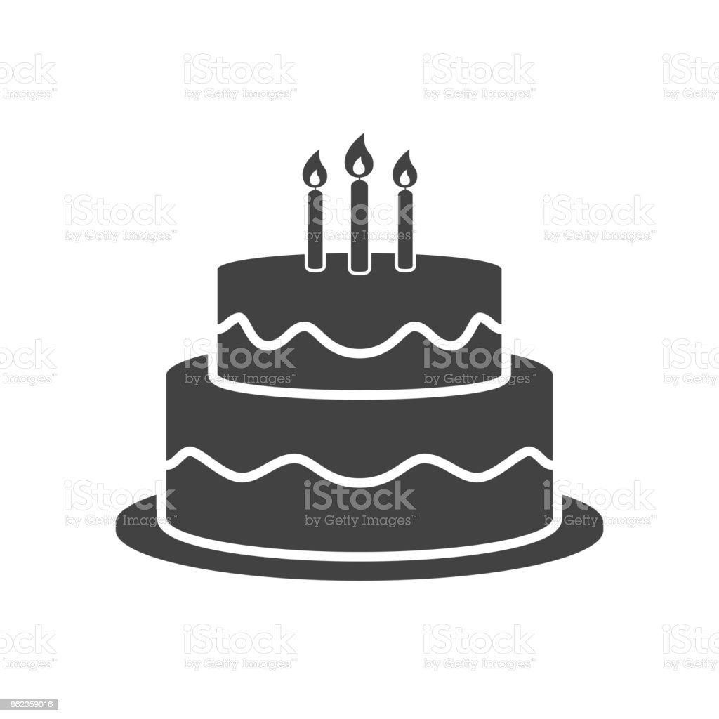 Birthday cake icon vector vector art illustration