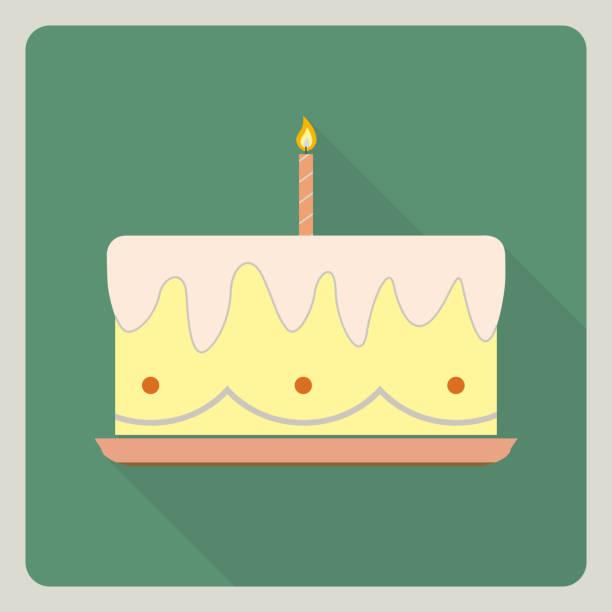 Gâteau d'anniversaire icône avec ombre - Illustration vectorielle