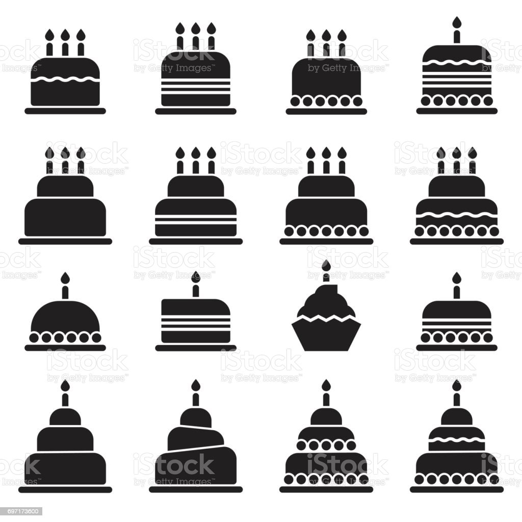 Birthday Cake Icons Black Edition Stock Vector Art More Images Of