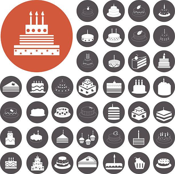 Geburtstagstorte icons set.  Illustration eps10 – Vektorgrafik