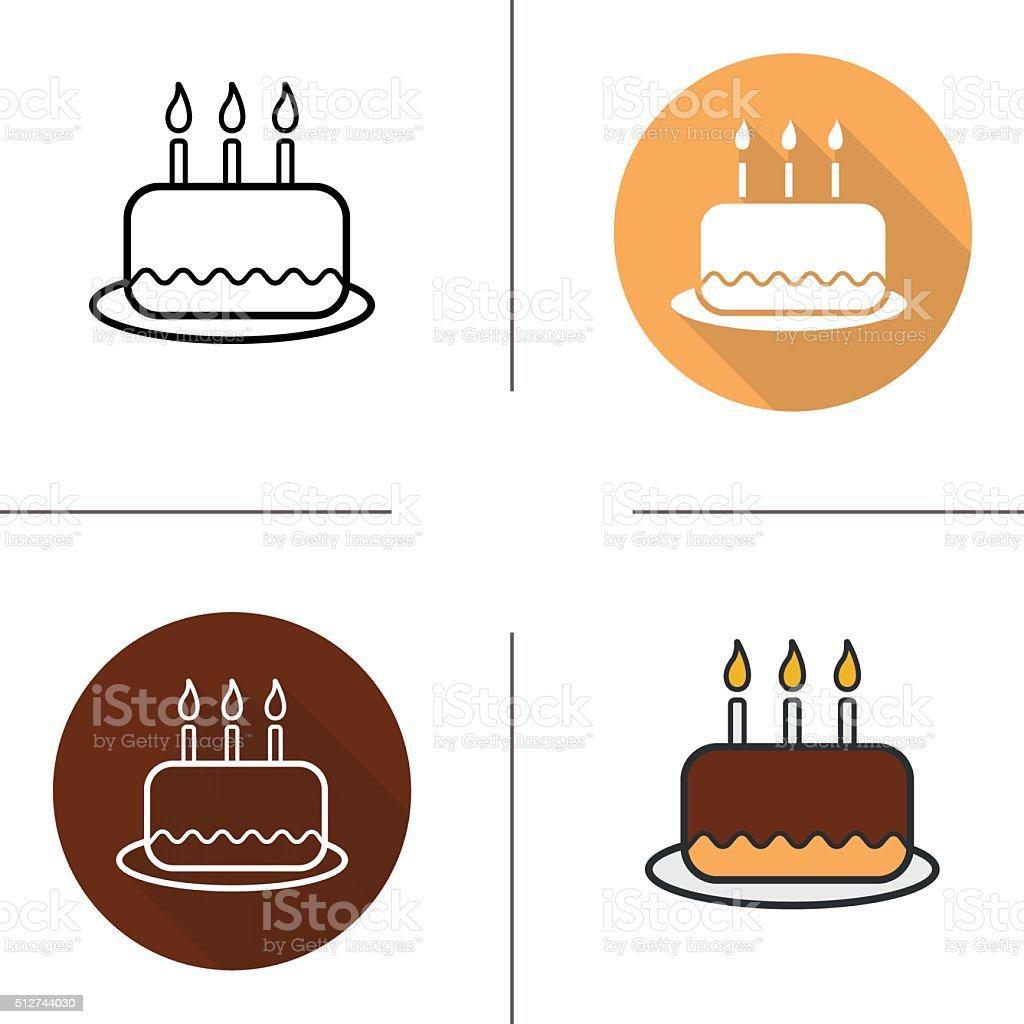 Birthday Cake Icons Stock Vector Art More Images Of Baked Pastry