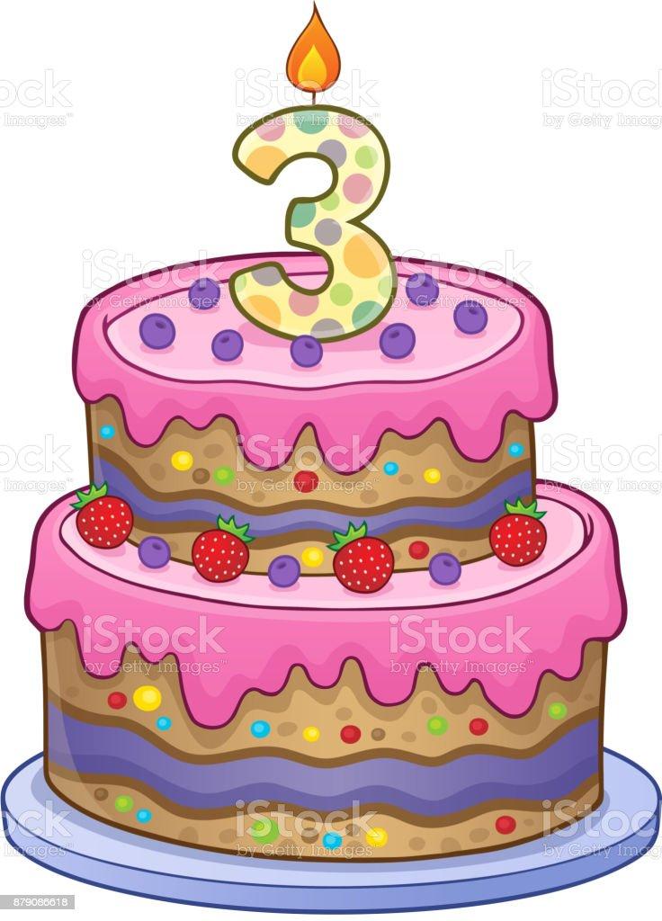 image de gâteau anniversaire pour 3 ans vecteurs libres de droits et