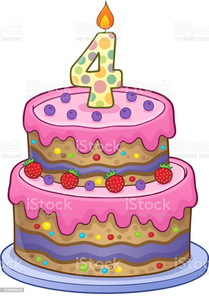 Terrific Birthday Cake Image For 4 Years Old Stock Illustration Download Funny Birthday Cards Online Alyptdamsfinfo