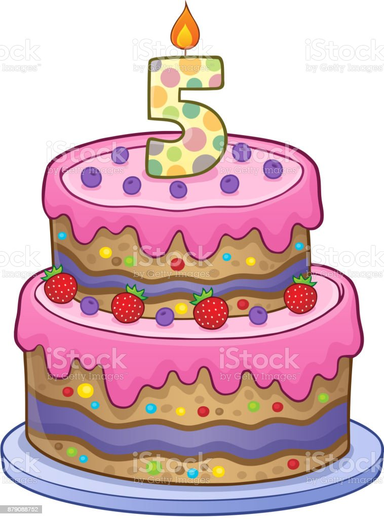 Birthday Cake Image For 5 Years Old Stock Vector Art More Images