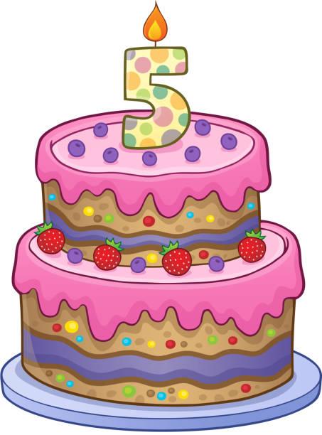 Awe Inspiring Clip Art Of 5Th Birthday Cake Illustrations Royalty Free Vector Funny Birthday Cards Online Bapapcheapnameinfo