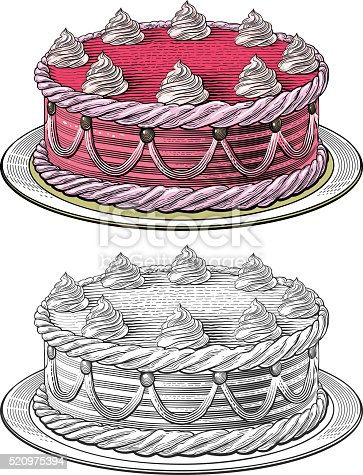 Birthday cake in engraving style. Isolated, grouped on transparent background.