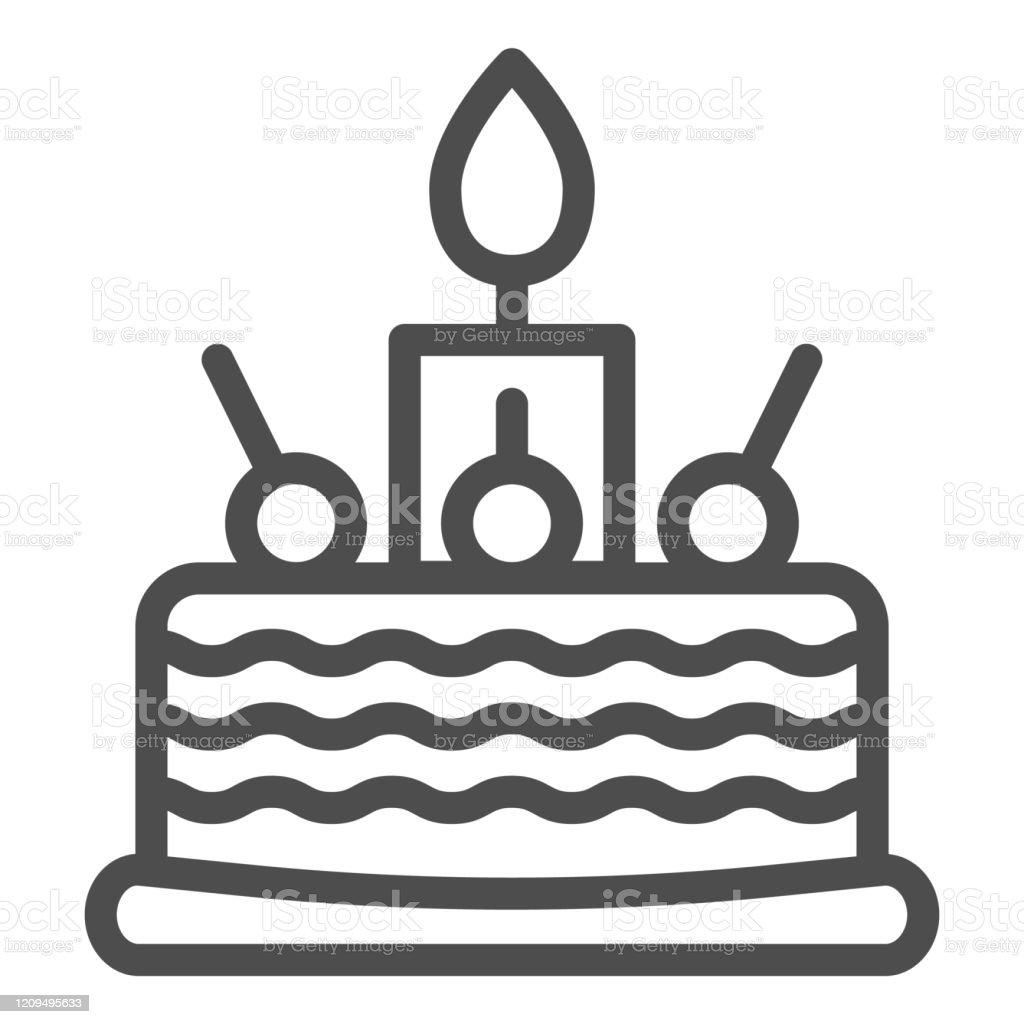 Fine Birthday Cake Line Icon Sweet Vector Illustration Isolated On Personalised Birthday Cards Xaembasilily Jamesorg