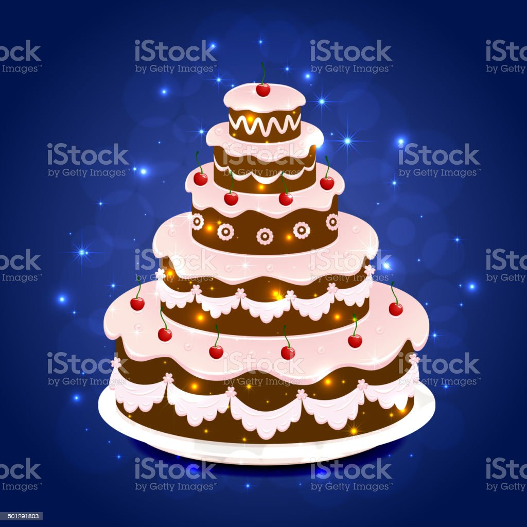 Amazing Birthday Cake On Sparkling Background Stock Illustration Funny Birthday Cards Online Aboleapandamsfinfo